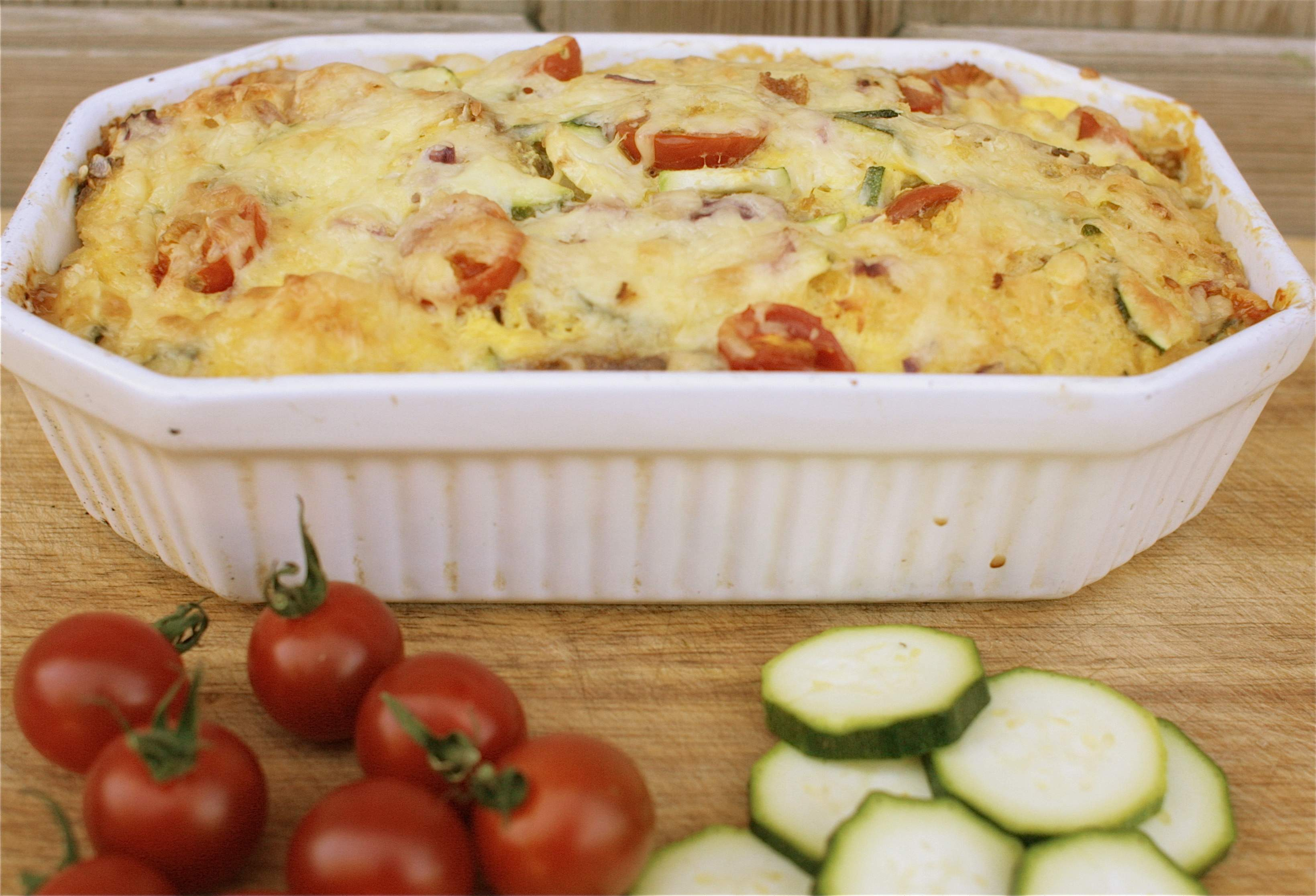 Back from our Holidays, and a Cheese, Courgette & Cherry Tomato Bread & Butter Pudding