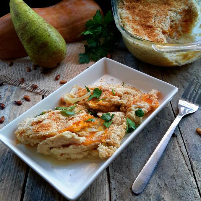 Gratín Vegano de Calabaza Moscada y Pera
