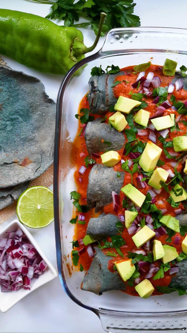 Enchiladas de Boniato y Frijoles Negros