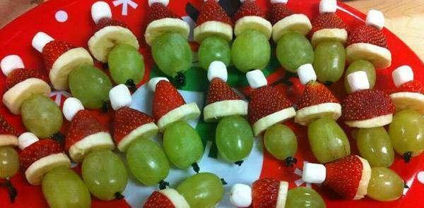 Petisco de natal com frutas