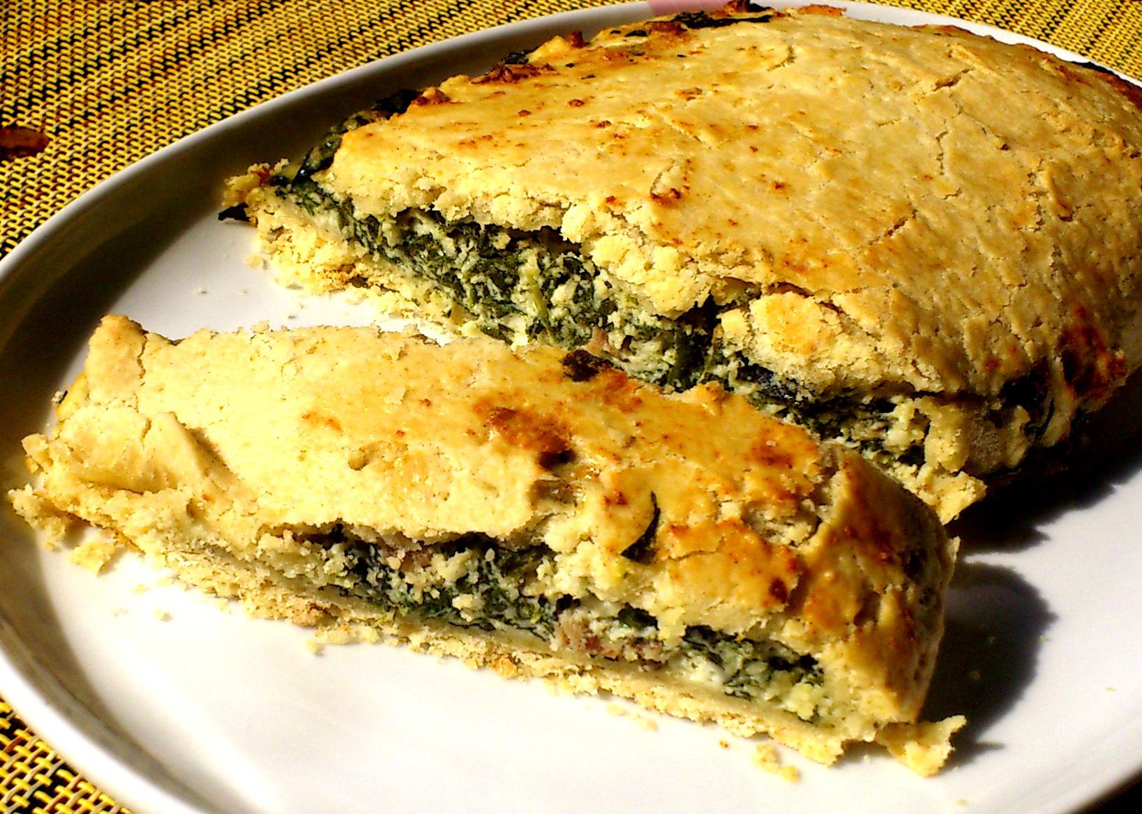 Pastel de Espinaca, Requesón y Tocineta