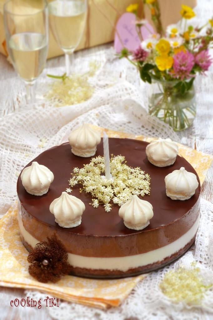 Gâteau léger au sureau et chocolat