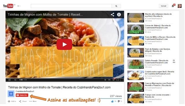 Assista nossas receitas em vídeo no YouTube