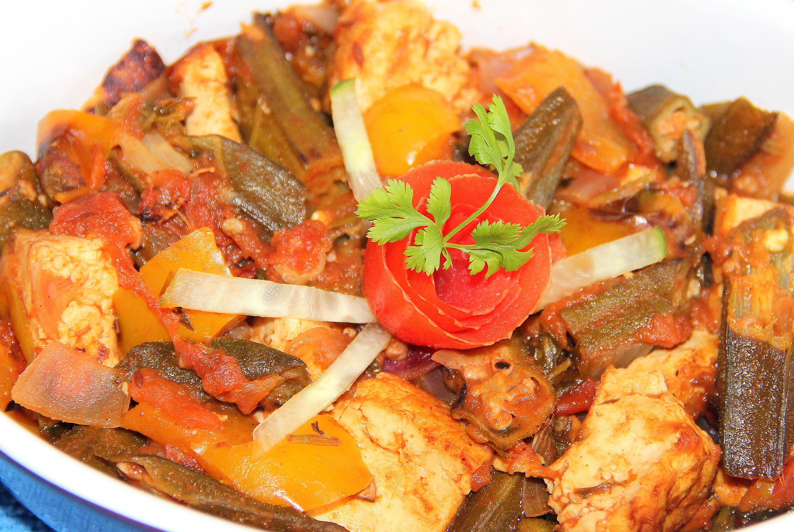 Vegan – Kadai Tofu bhindi/okra
