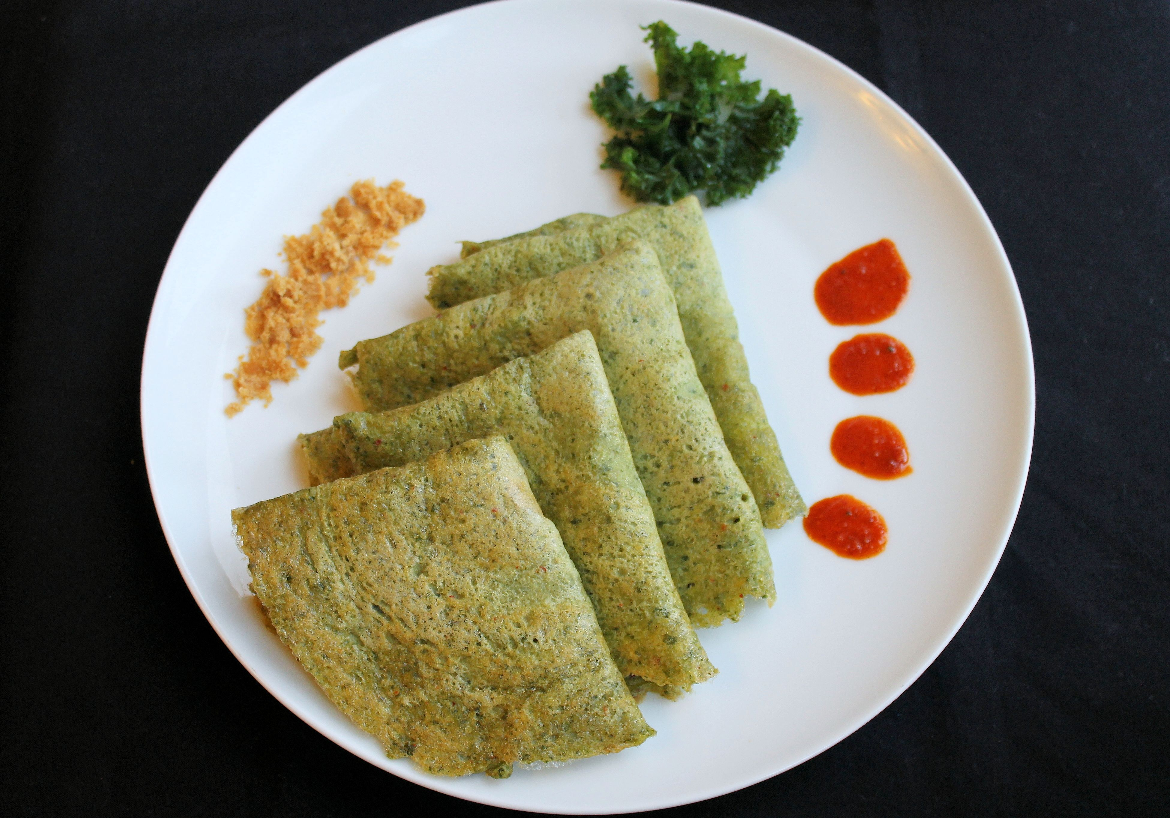 Kale Adai | Indian traditional lentil pancake with Kale