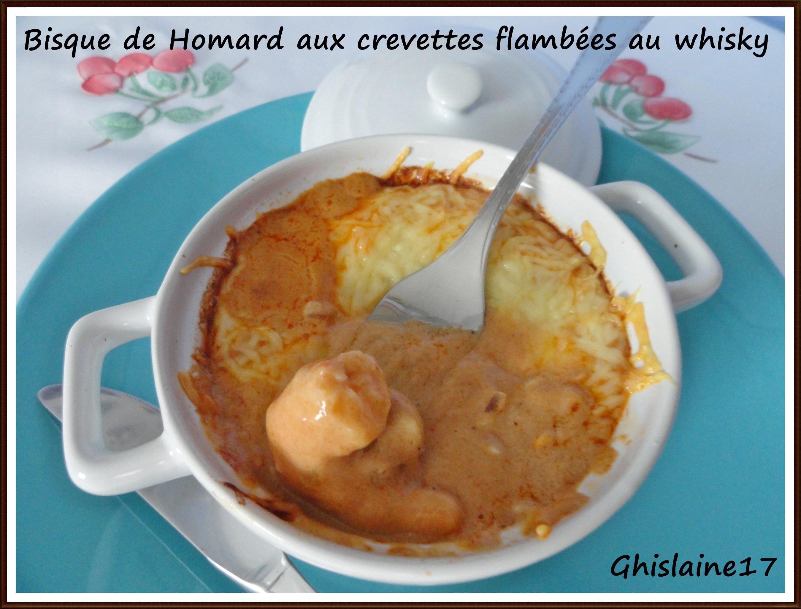 Bisque de Homard aux crevettes flambées au whisky