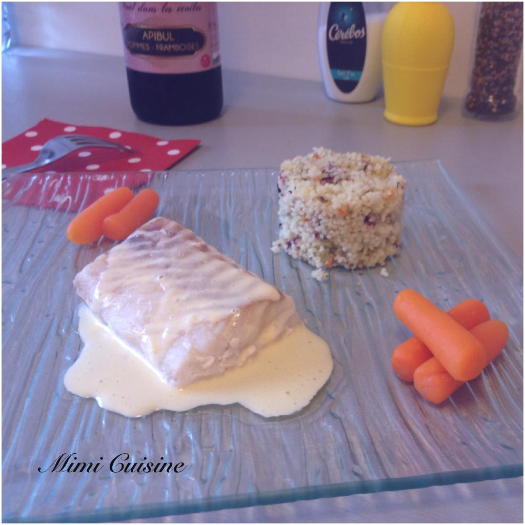 Filet de cabillaud sauce hollandaise et sa semoule aux fleurs by thermomix