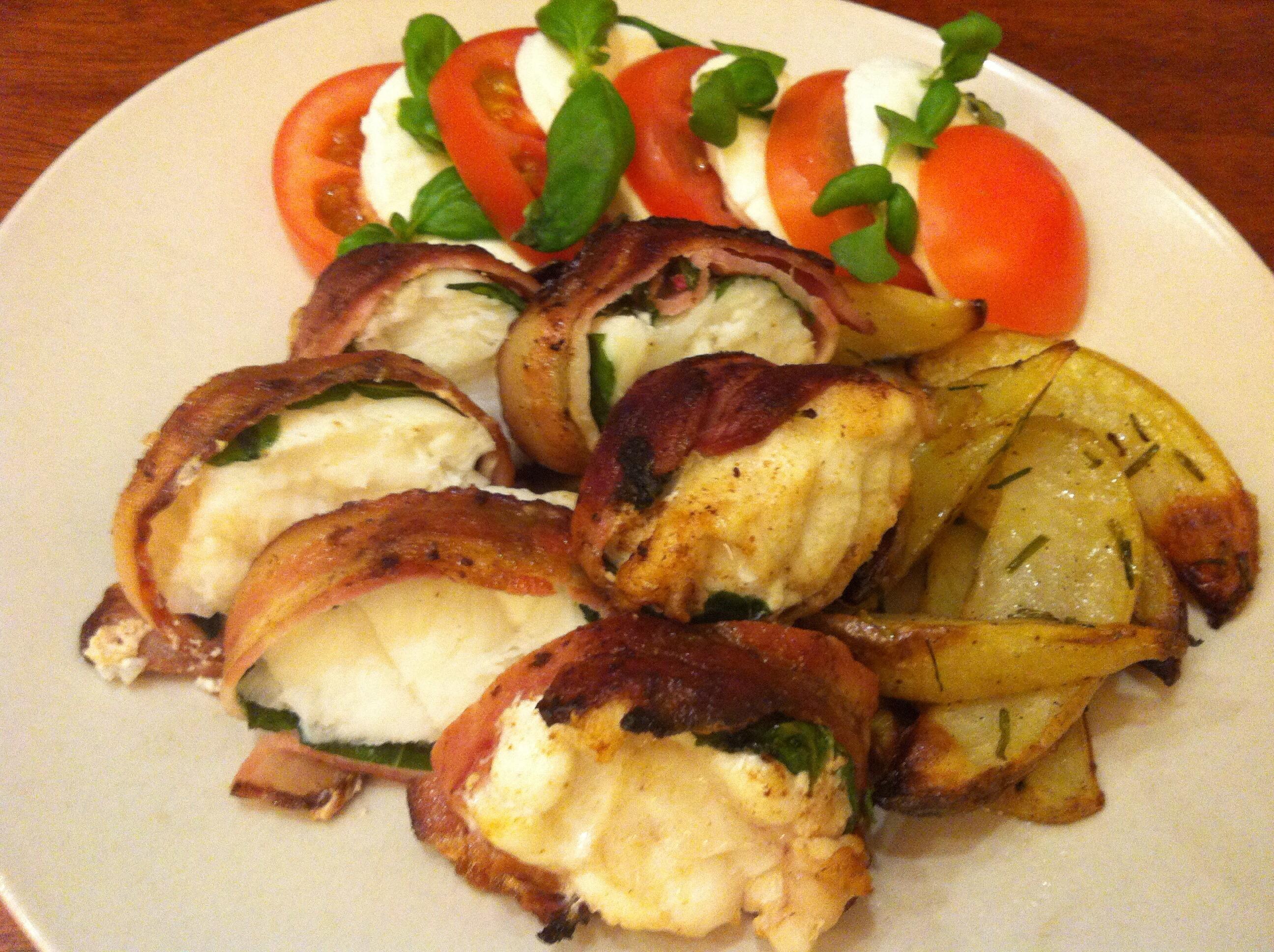 Breiflabb i basilikum og bacon