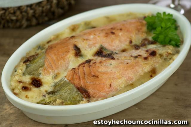 Recette gratin d'endives au saumon et fromage bleu (chicons au saumon)