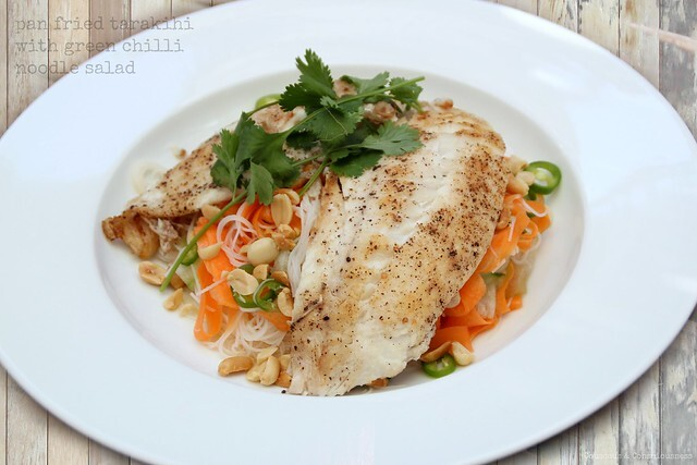 Pan Fried Tarakihi with Green Chilli Noodle Salad