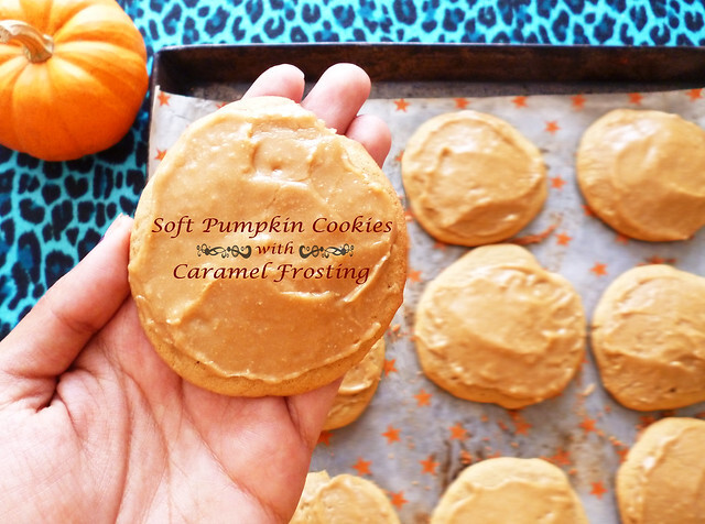Soft Pumpkin Cookies with Caramel Frosting