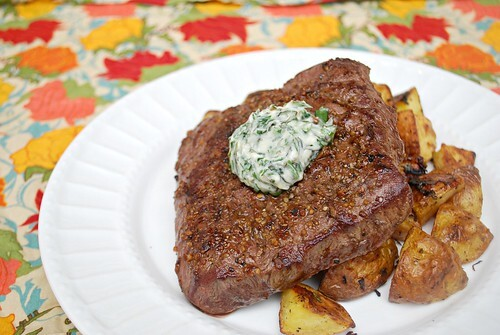 Flatiron Steak with Herbed Butter