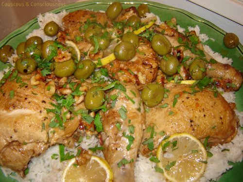 Sauteed Chicken with Green Olives and White Wine