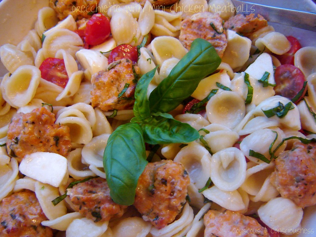 Orecchiette with Mini Chicken Meatballs