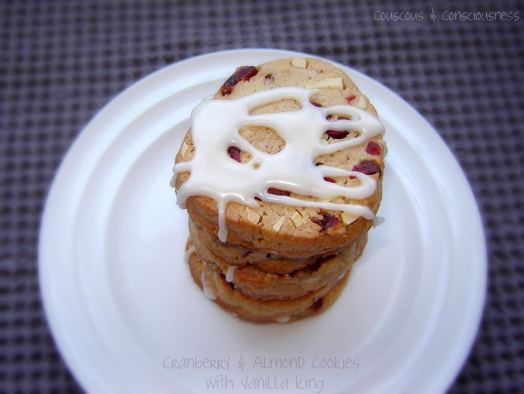 Cranberry & Almond Cookies with Vanilla Icing
