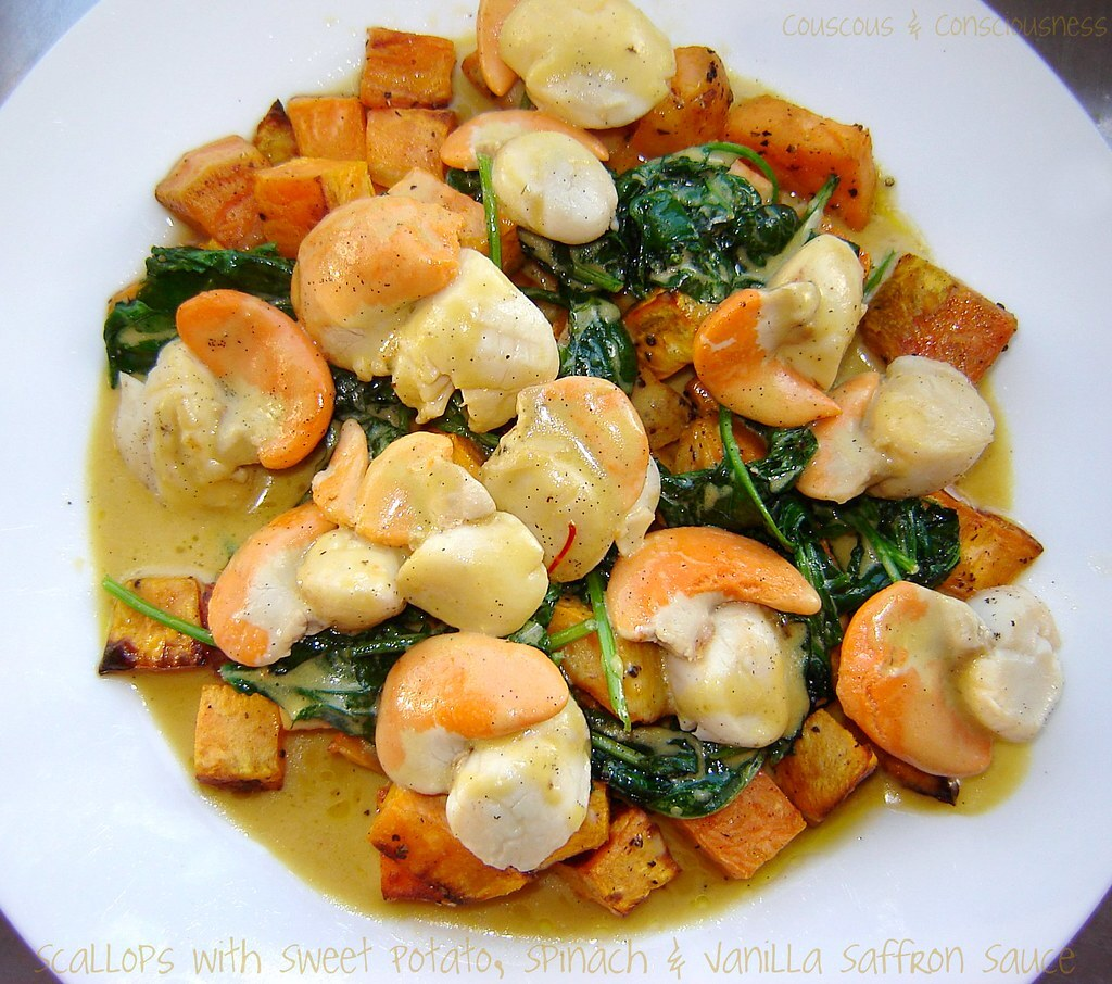 Scallops with Sweet Potato, Spinach & Vanilla Saffron Sauce Recipe