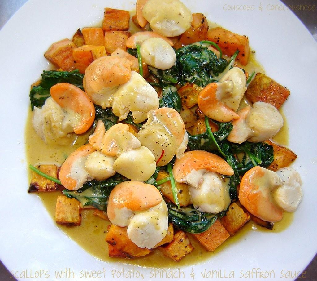 Scallops with Sweet Potato, Spinach & Vanilla Saffron Sauce Recipe