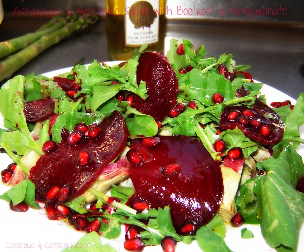 Salad of Asparagus with Artichokes, Arugula, Pomegranate and Beetroot with White Balsamic Dressing