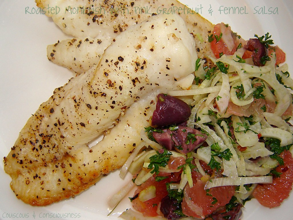 Roasted Monkfish with Pink Grapefruit & Fennel Salsa