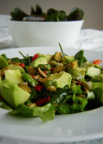 Chilli Lime Mussels & Broad Bean Salad with Green Olive Dressing