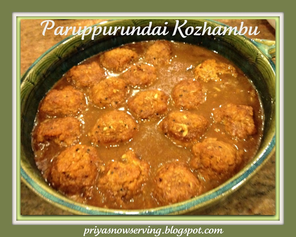 Paruppurundai Vetha Kozhambu - Lentil Dumplings in spicy gravy