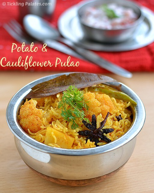 Aloo Gobhi (Gobi) Pulao | Potato Cauliflower Pilaf (Rice) | Easy Lunch Box Recipes For Kids