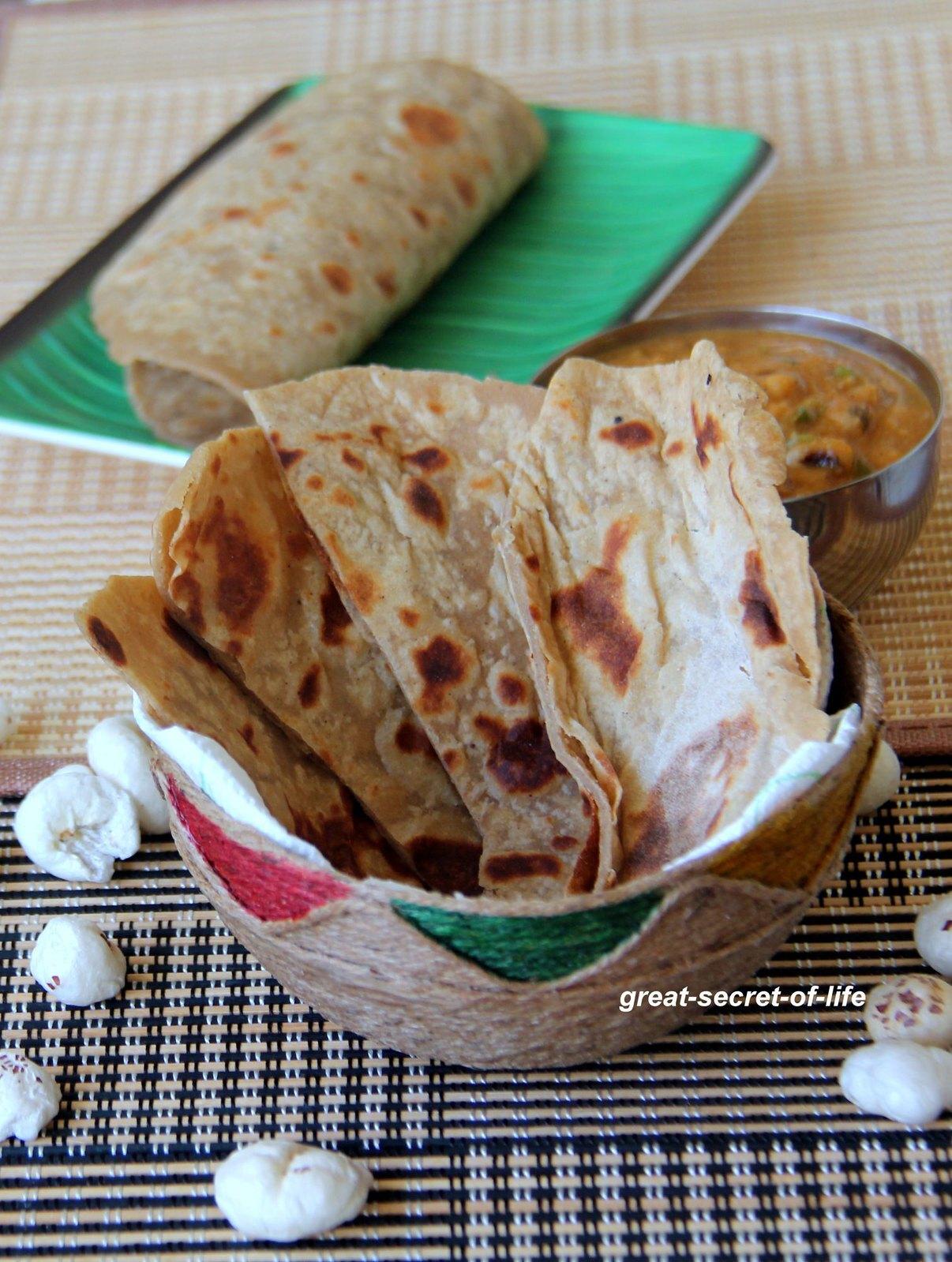 makhana roti - Lotus Seeds roti - Lotus seeds chapathi - makhana chapathi - Makhana chapati - Healthy breakfast / dinner recipe