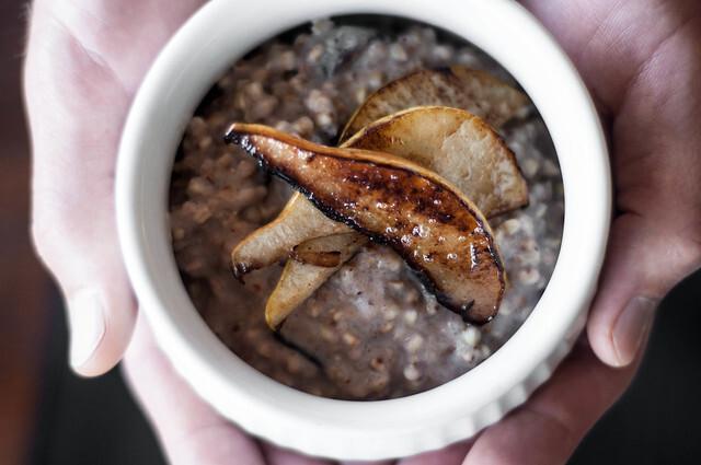buckwheat porridge with prunes & caramelised pear