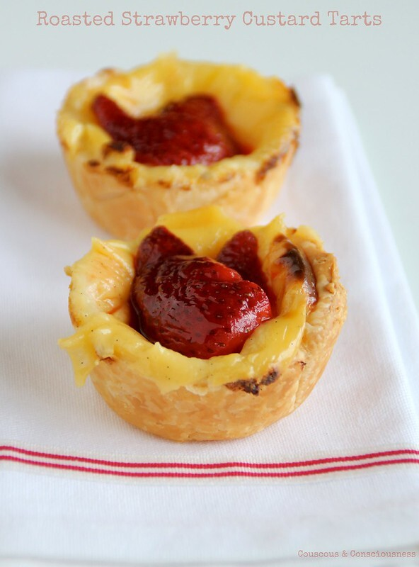 Roasted Strawberry Custard Tarts