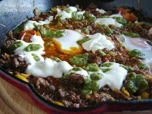 Braised Eggs with Lamb, Tahini & Sumac
