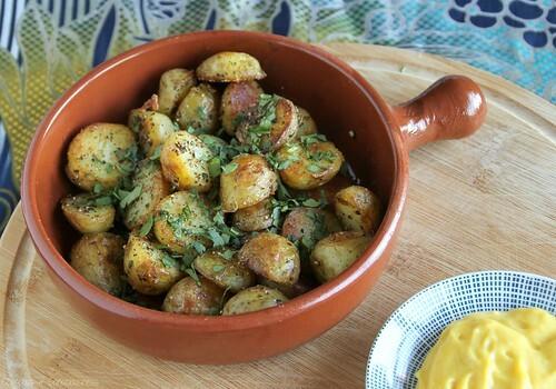 Black Pepper Potatoes (Bengali Aloo) with Lemon Turmeric Aioli