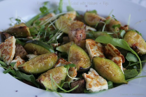 Rocket & Cress Salad with Roasted Figs & Haloumi