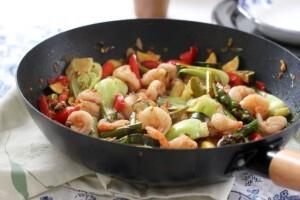 Krevety s dusenou zeleninou