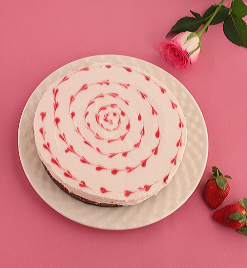 No Bake Strawberry Ripple Cheesecake