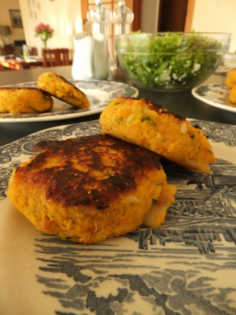 A change of mind + spicy pumpkin, bacon, quinoa patties