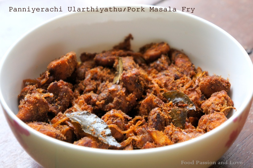 Panniyerachi Ularthiyathu/Pork Masala Fry