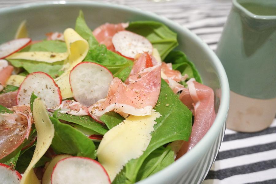 salada de espinafre com presunto cru e molho de mostarda com ervas + encontro gourmet 2014
