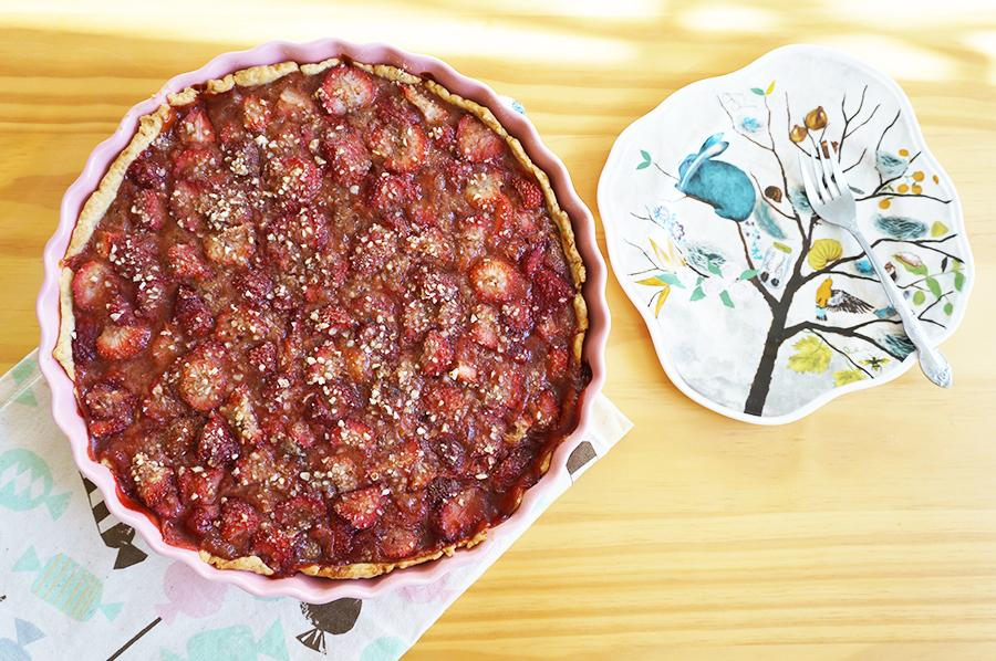 torta de morango com amêndoas