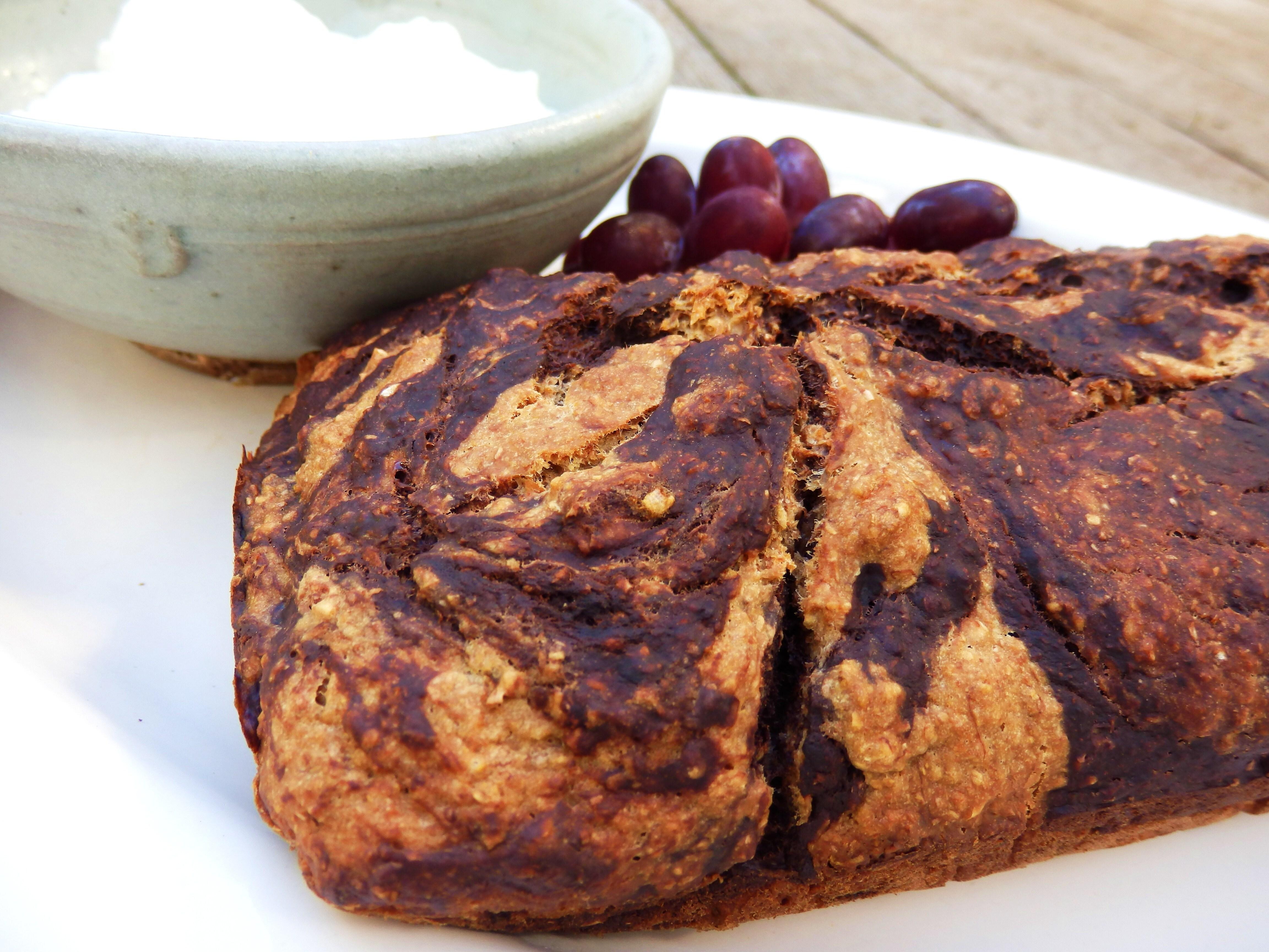 Vanilla and Chocolate Marbled Banana Loaf (v)