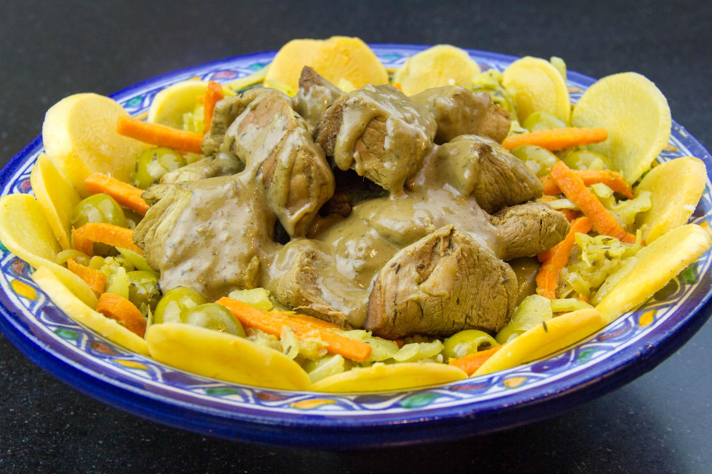 Veau aux olives et citron confit au sel, basse température