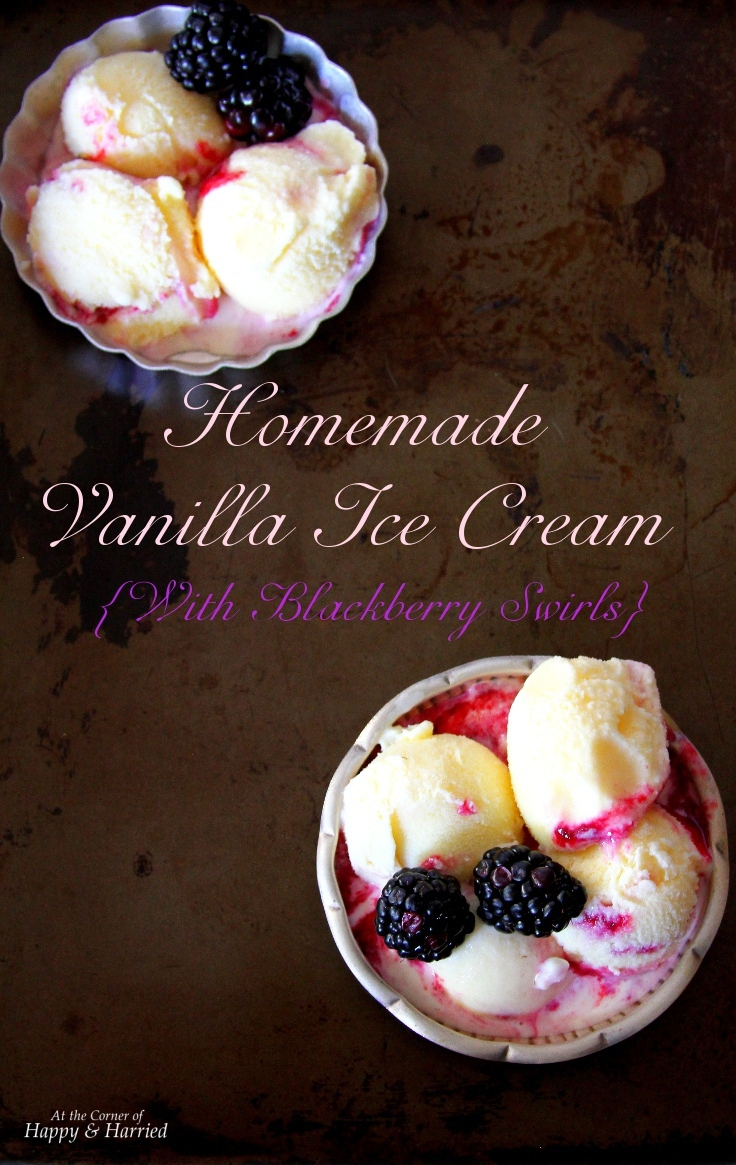 Homemade No-Churn Vanilla Ice Cream {With Blackberry Swirls}