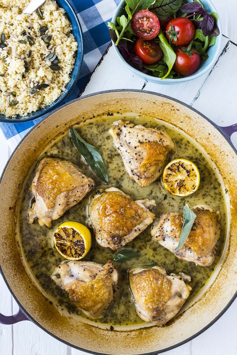 Chicken Roasted in White Wine with Lemon and Herbs