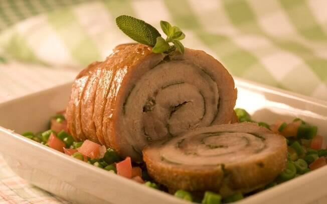 Receita Deliciosa Lombo de porco assado com vinagrete de vagem