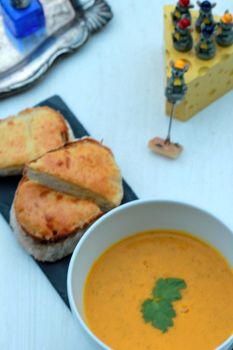 Carrot Soup with Star Anise served with Croque Monsieur Toasts