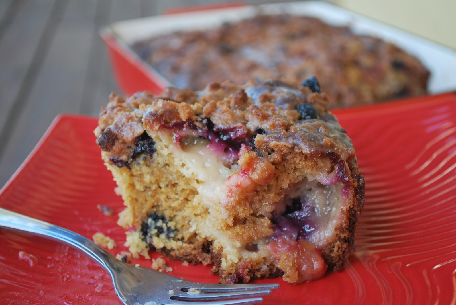 Chai Plum and Blueberry Coffeecake With Cinnamon Streusel And Lemon Drizzle