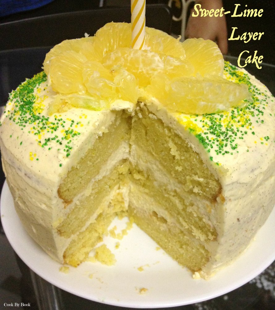 Sweet~Lime Layer Cake with Cream Cheese Filling & Vanilla Bean Frosting