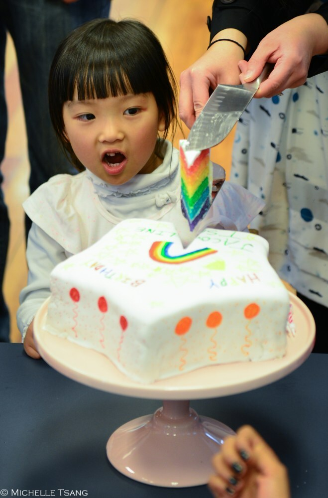 Rainbow star-shaped birthday cake