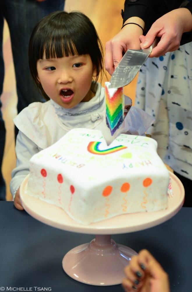 Rainbow star-shaped birthday cake