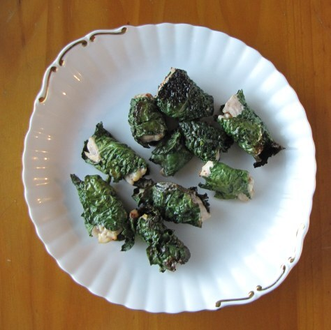 Kale wrapped chicken bites