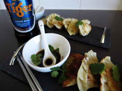 Thai green chicken curry pot stickers
